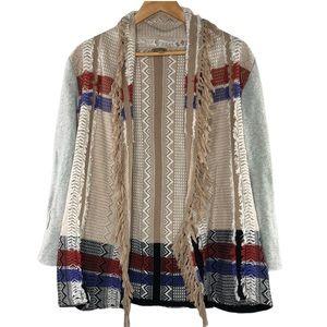 Gimmicks by BKE tribal fringe opening cardigan, S